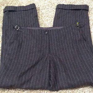 J.Crew Wool Pinstriped Size 12 Black Dress Pants